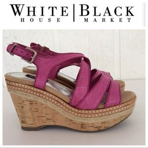 WHBM CORK AND ROPE WEDGE HOT PINK SANDAL 5.5